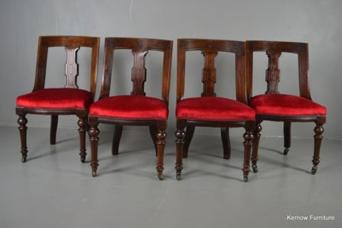 Set 4 Antique Victorian Mahogany Red Upholstered Dining Chairs - Kernow Furniture 100s vintage, retro & antique items in stock