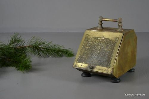 Antique Victorian Brass Coal Scuttle - vintage retro and antique furniture