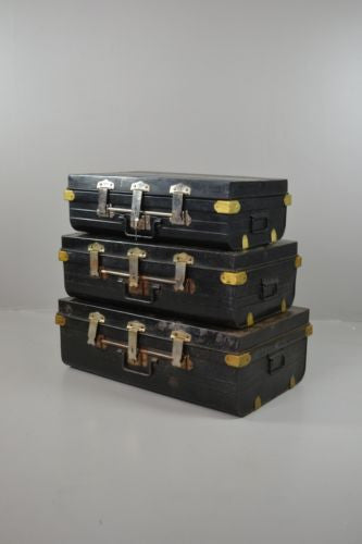 Set 3 Black Metal Graduating Trunks Luggage Set - Kernow Furniture 100s vintage, retro & antique items in stock