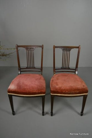 Pair Antique Sheraton Style Dining Chairs - Kernow Furniture 100s vintage, retro & antique items in stock