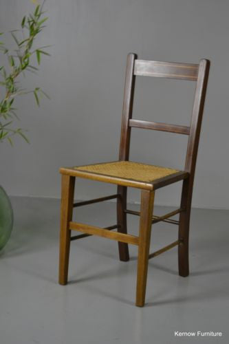 Antique Edwardian Cane Occasional Side Hall Chair - vintage retro and antique furniture