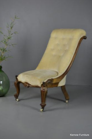 Antique Victorian Walnut Button Back Chair Armchair - Kernow Furniture 100s vintage, retro & antique items in stock