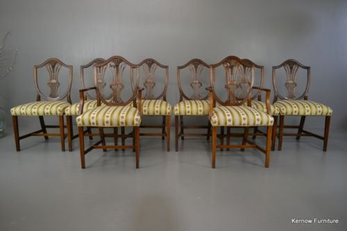 Set 8 Sheraton Style Reproduction Mahogany Dining Chairs - Kernow Furniture 100s vintage, retro & antique items in stock