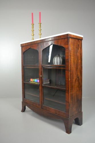 Antique Rosewood Glazed Marble Top Bookcase - Kernow Furniture 100s vintage, retro & antique items in stock