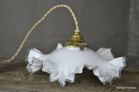 Vintage French Ruffled Opaline Milk Glass Ceiling Shade - Kernow Furniture 100s vintage, retro & antique items in stock