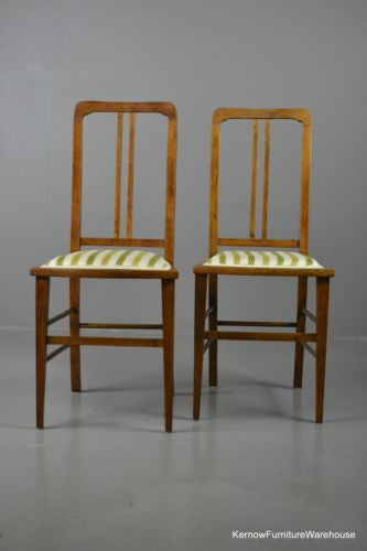 Pair Vintage Light Mahogany Bedroom Chairs - Kernow Furniture