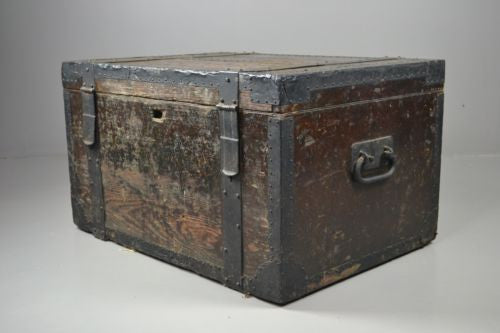 Antique Victorian Oak & Metal Bound Silver Chest Trunk - vintage retro and antique furniture