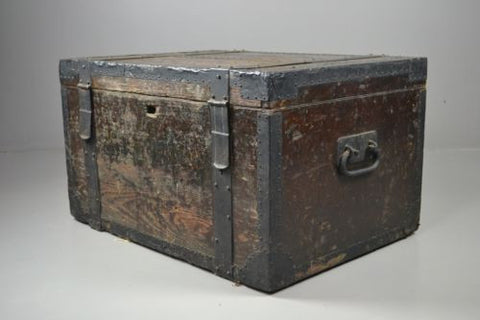 Antique Victorian Oak & Metal Bound Silver Chest Trunk - Kernow Furniture 100s vintage, retro & antique items in stock