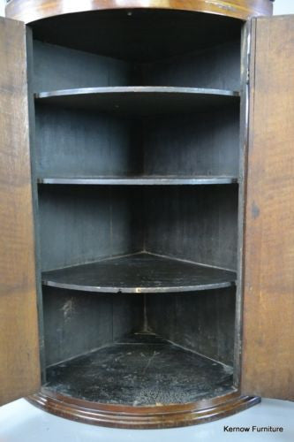 ... Antique Georgian George III Mahogany U0026 Oak Bow Front Wall Corner  Cupboard   Kernow Furniture 100s ...
