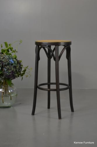 Ebonised Beech & Cane Bentwood Stool - Kernow Furniture