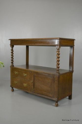 Antique Edwardian Oak Two Tier Buffet Server Sideboard - vintage retro and antique furniture