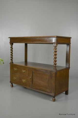 Antique Edwardian Oak Two Tier Buffet Server Sideboard - Kernow Furniture 100s vintage, retro & antique items in stock