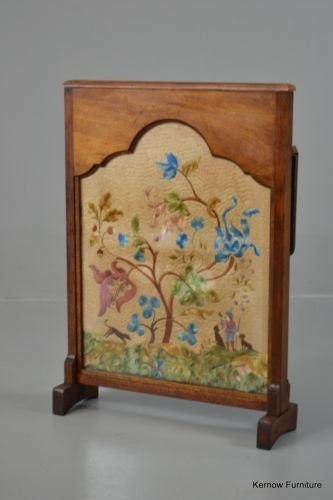 Mahogany Crewel Work Fire Screen - Kernow Furniture 100s vintage, retro & antique items in stock