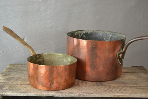 Pair Antique Copper Saucepans - Kernow Furniture