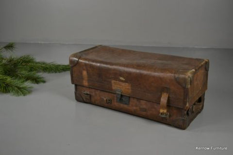 Antique Vintage Tan Leather Suitcase - Kernow Furniture 100s vintage, retro & antique items in stock