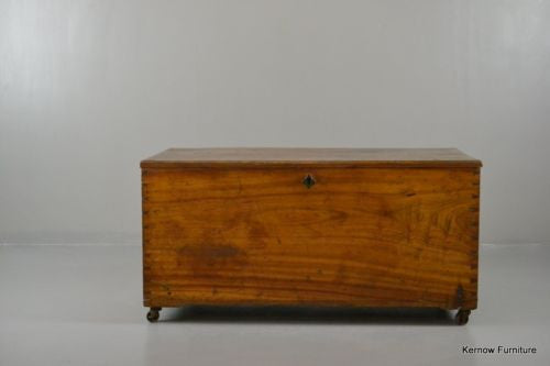 Antique Polished Camphor Wood Trunk - vintage retro and antique furniture