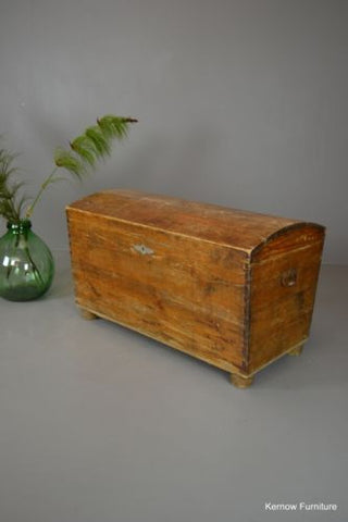 Antique Dutch Pine Kist Dome Top Trunk Chest - Kernow Furniture 100s vintage, retro & antique items in stock