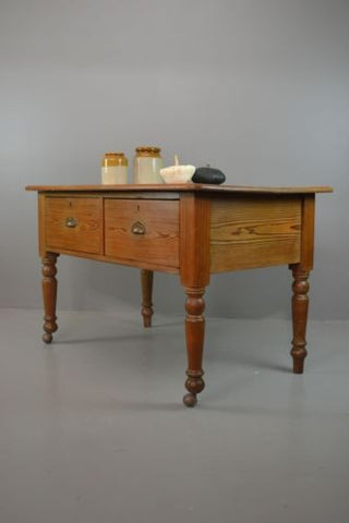 Rustic Antique Pine Work / Prep / Kitchen Table - Kernow Furniture