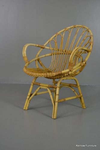 Retro Cane Boho Albini Style Bedroom Chair Small Lounge Chair - Kernow Furniture 100s vintage, retro & antique items in stock