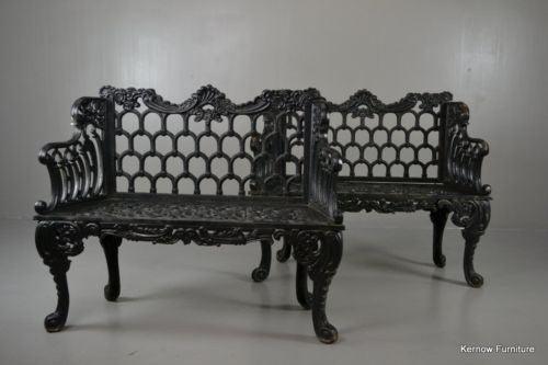 Pair White House Rose Garden Kramer Bros Style Cast Iron Benches - Kernow Furniture 100s vintage, retro & antique items in stock
