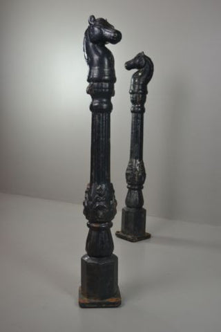 Pair Antique Cast Iron Horse Hitching Posts - Kernow Furniture 100s vintage, retro & antique items in stock