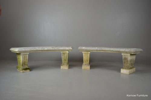 Pair Cast Stone Garden Benches - Kernow Furniture 100s vintage, retro & antique items in stock