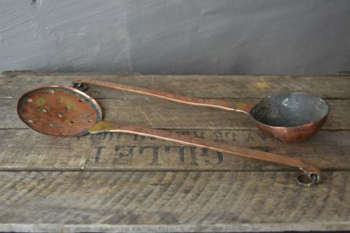 Pair Antique Copper Spoons Skimming Spoon & Hammered Ladle - Kernow Furniture