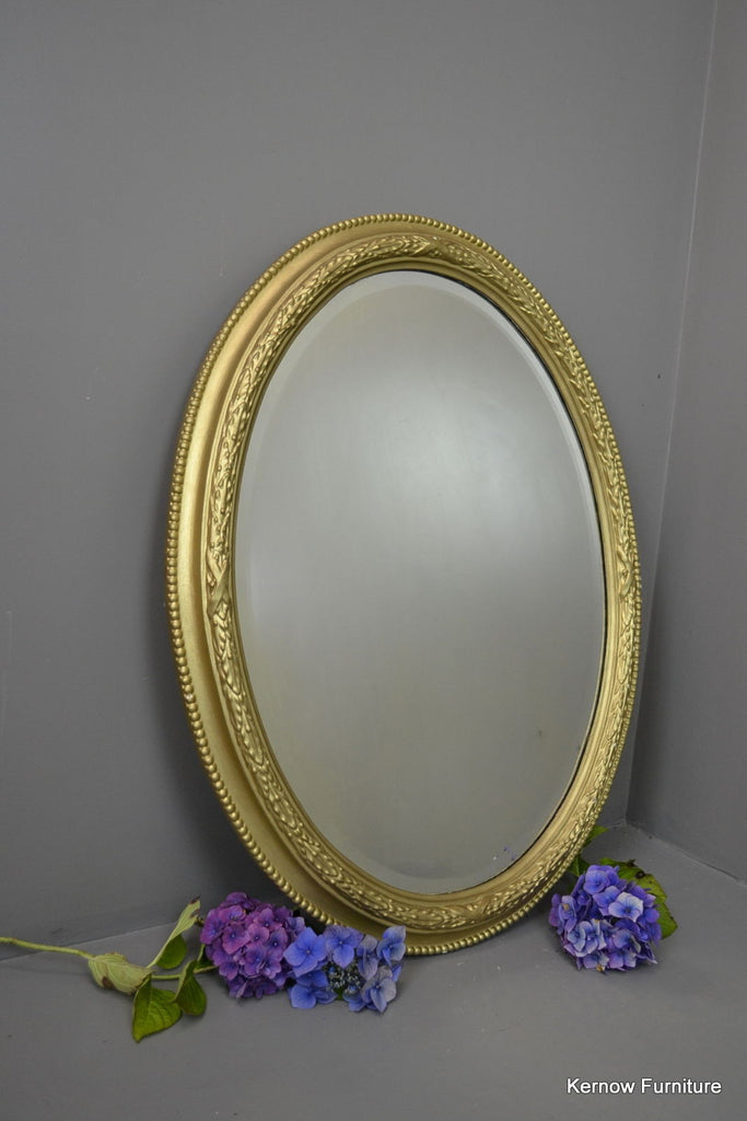 Large Oval Gold Wall Mirror - Kernow Furniture - 1