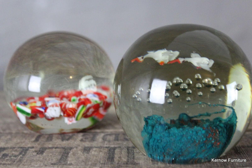 Pair Vintage Glass Paperweights - Kernow Furniture