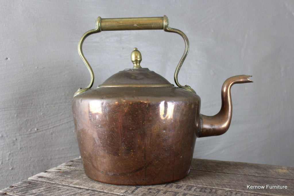 Decorative Stove Top Antique Copper & Brass Kettle - Kernow Furniture