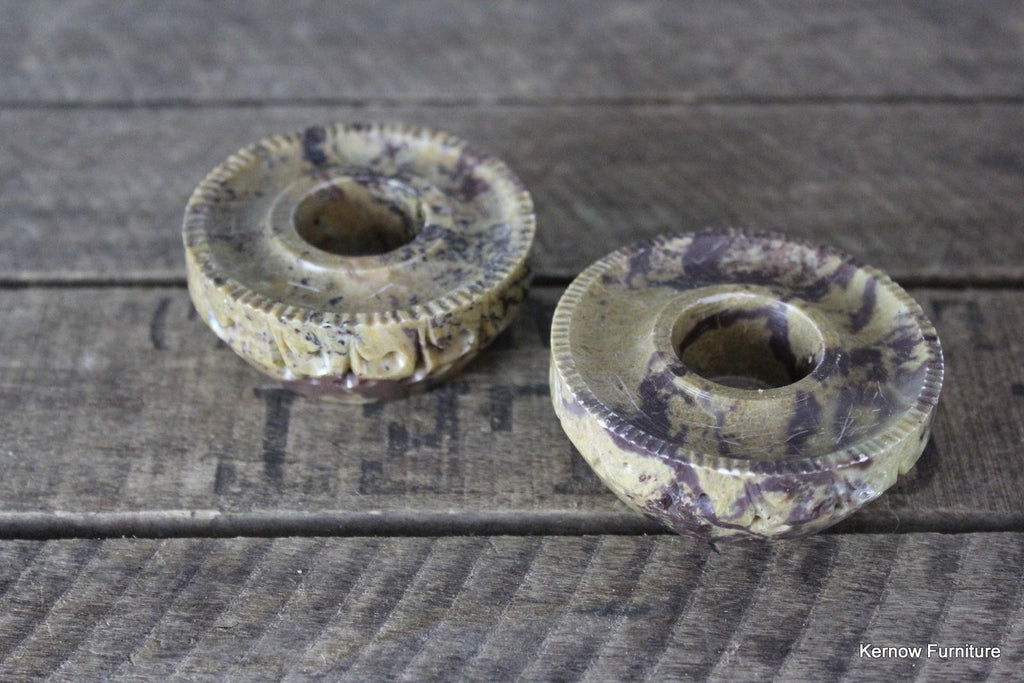 Pair Marble Candle Holders - Kernow Furniture 100s vintage, retro & antique items in stock