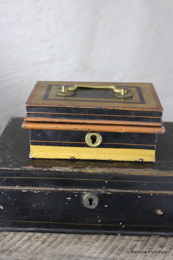 Pair Antique Small Black Tins - Kernow Furniture 100s vintage, retro & antique items in stock