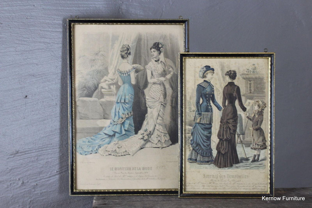 Set 5 Framed Victorian Fashion Plate - Kernow Furniture 100s vintage, retro & antique items in stock
