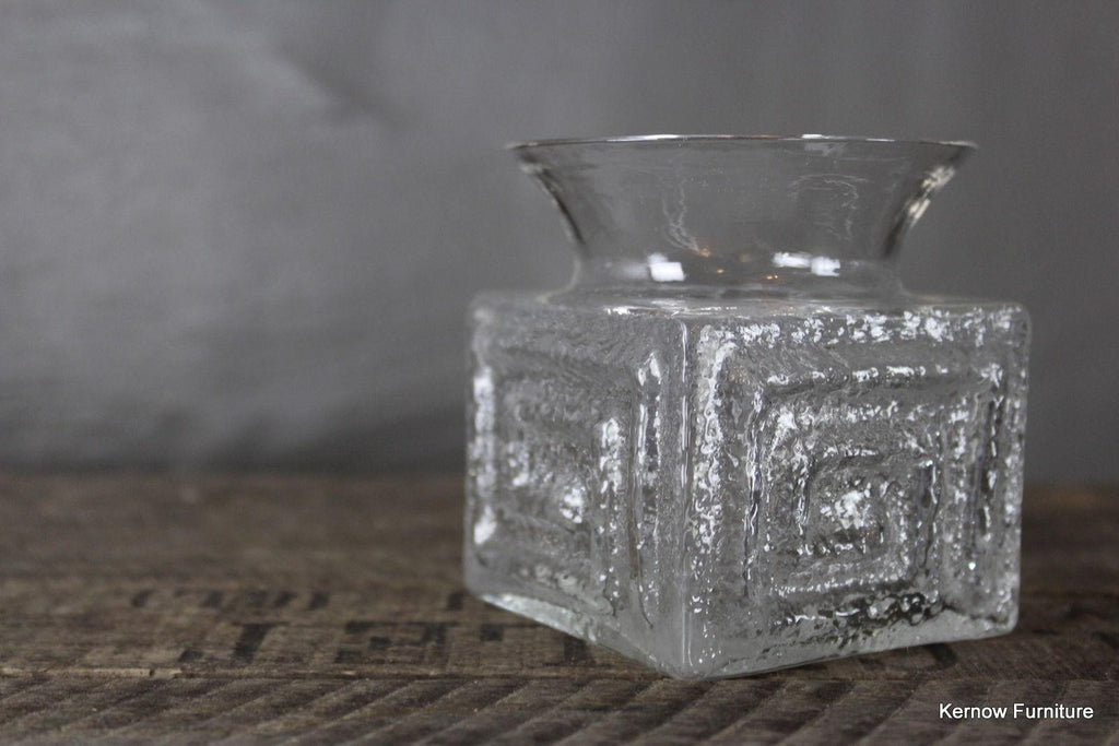 Retro Frank Thrower Dartington Clear Glass Vase - Kernow Furniture 100s vintage, retro & antique items in stock