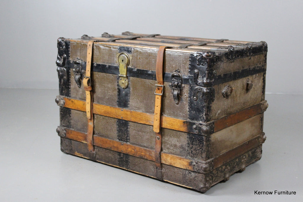 Large Antique Travel Trunk - Kernow Furniture 100s vintage, retro & antique items in stock