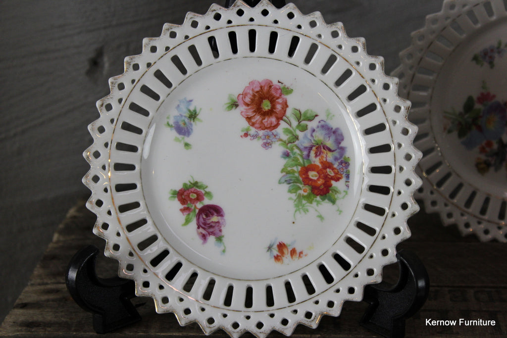 Set 6 Pierced China Floral Plates - Kernow Furniture 100s vintage, retro & antique items in stock