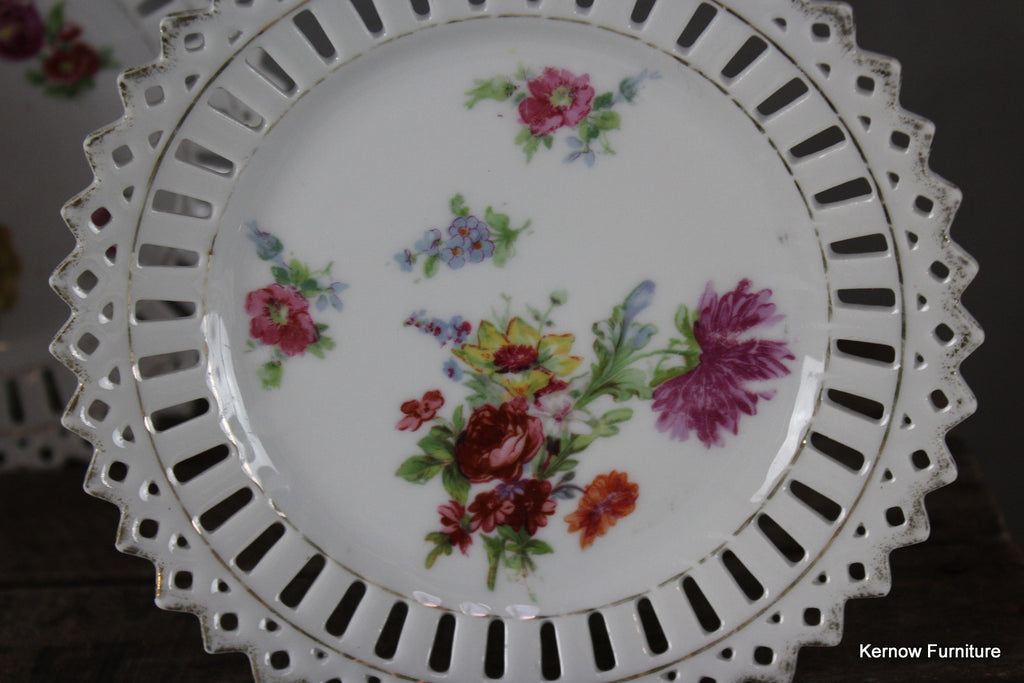 Set 6 Pierced China Floral Plates - Kernow Furniture