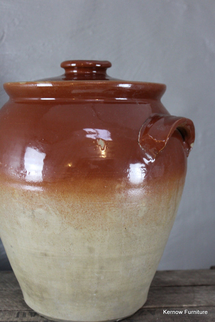 Large Stoneware Jar & Lid - Kernow Furniture