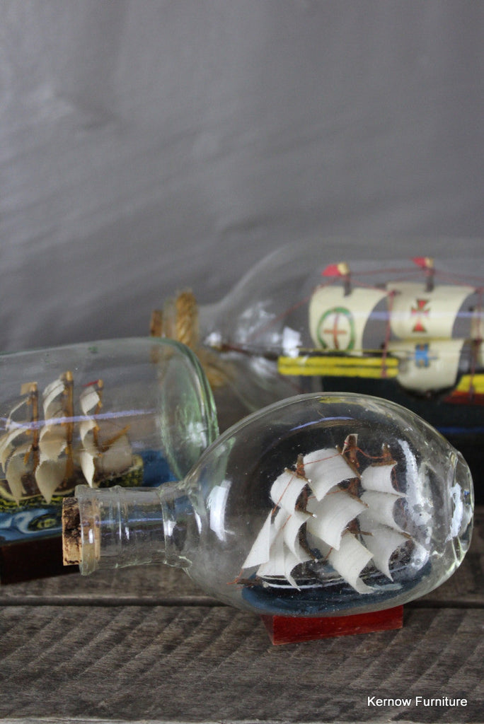3 Ships In Bottles - Kernow Furniture 100s vintage, retro & antique items in stock