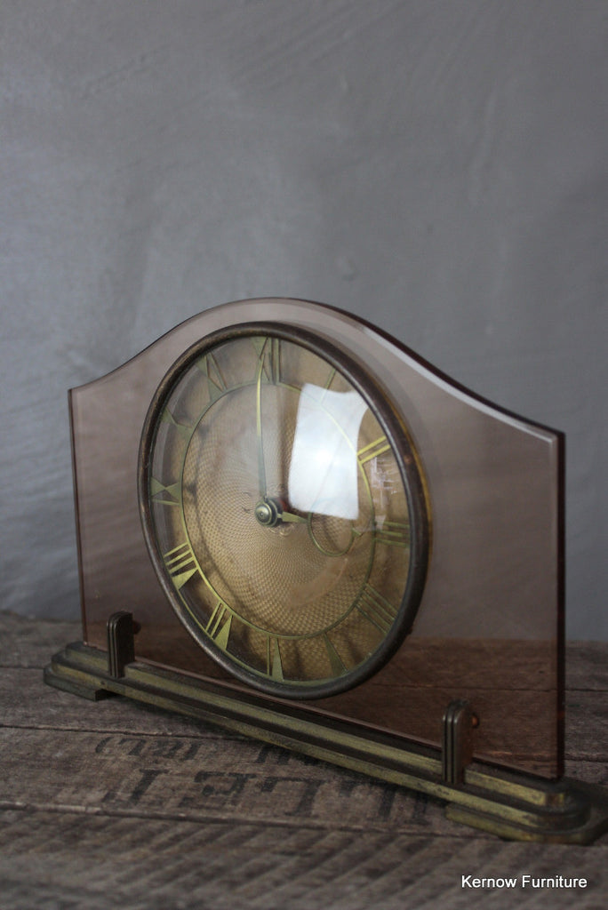 Vintage Deco Pink Glass Mantle Clock - Kernow Furniture 100s vintage, retro & antique items in stock