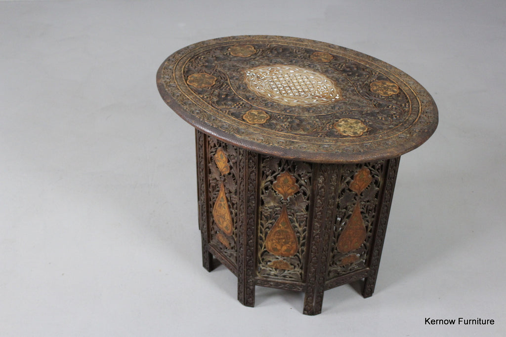 Carved & Inlaid Syrian Side Table - Kernow Furniture