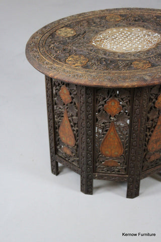 Carved & Inlaid Syrian Side Table - Kernow Furniture 100s vintage, retro & antique items in stock