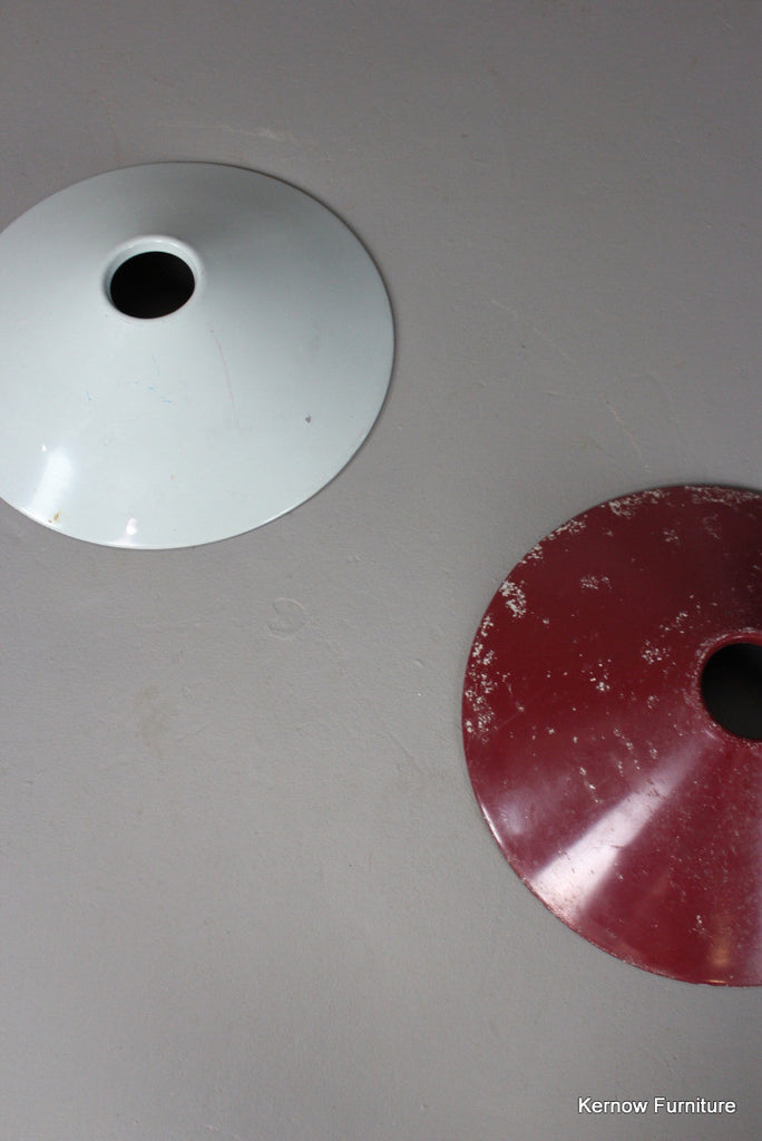 Red & Grey Metal Ceiling Shades - Kernow Furniture 100s vintage, retro & antique items in stock