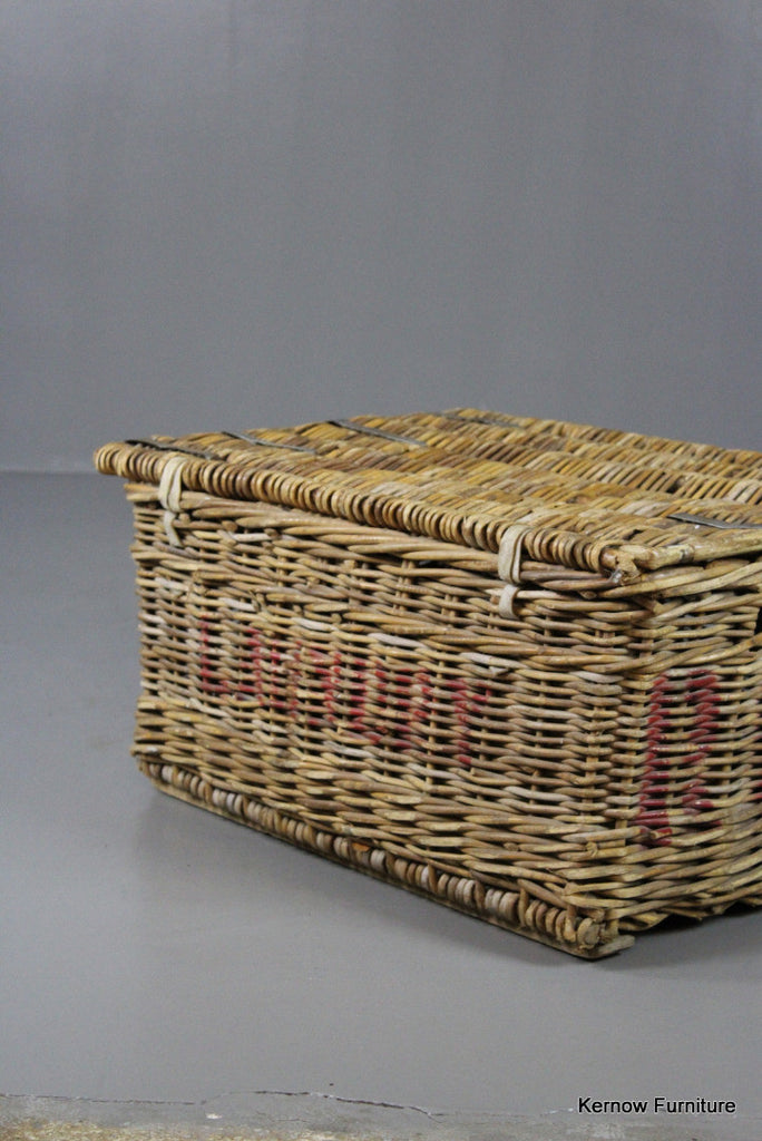 Vintage Hinged Lid Laundry Basket - Kernow Furniture 100s vintage, retro & antique items in stock