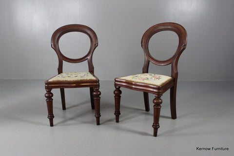 Pair Mahogany Balloon Back Dining Chairs - Kernow Furniture 100s vintage, retro & antique items in stock