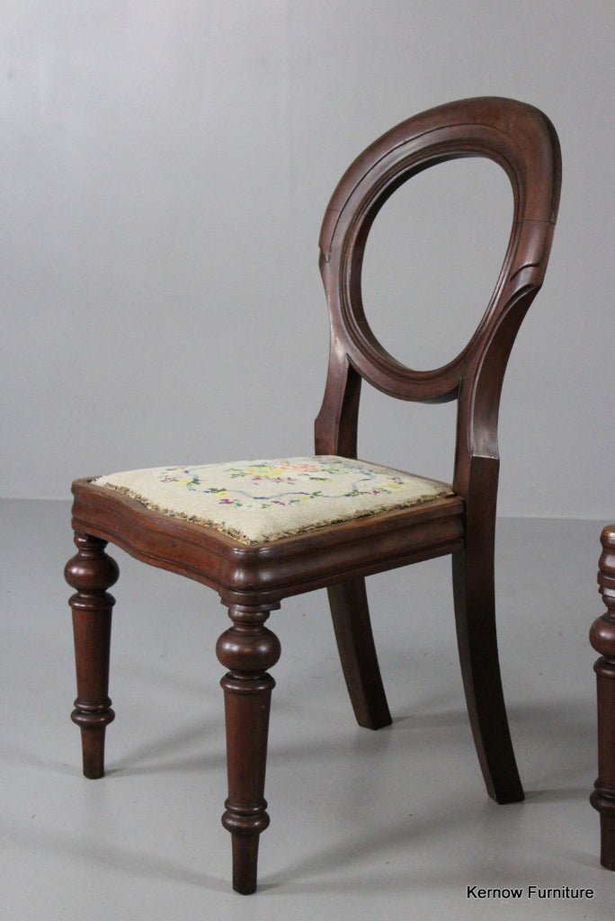 Pair Mahogany Balloon Back Dining Chairs - Kernow Furniture