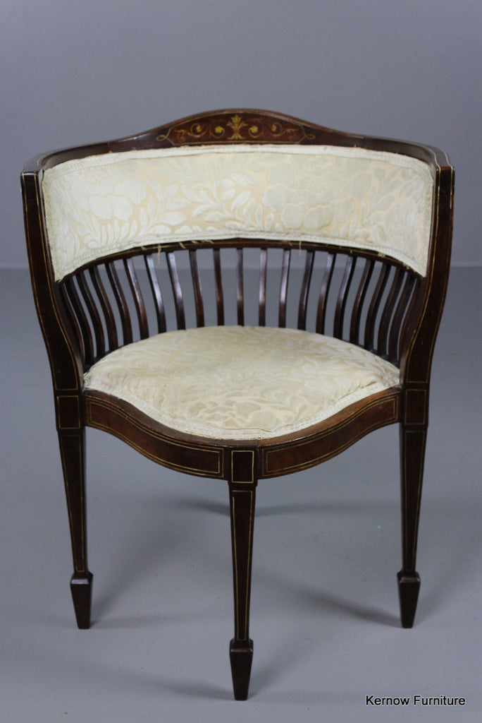 Victorian Upholstered Inlaid Corner Chair