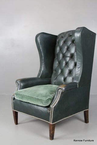 Early 20th Century Green Leather Button Back Armchair - Kernow Furniture 100s vintage, retro & antique items in stock