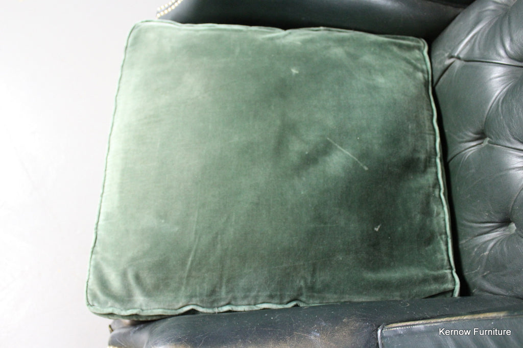 Early 20th Century Green Leather Button Back Armchair - Kernow Furniture