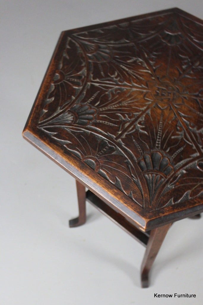Hexagonal Carved Side Table - Kernow Furniture 100s vintage, retro & antique items in stock